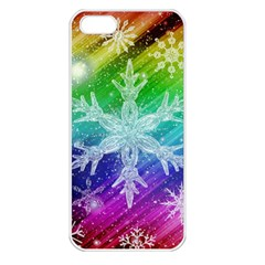 Christmas Snowflake Background Apple Iphone 5 Seamless Case (white)