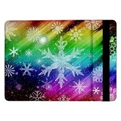Christmas Snowflake Background Samsung Galaxy Tab Pro 12 2  Flip Case by Bejoart