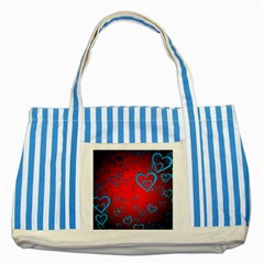 Heart Light Course Love Striped Blue Tote Bag