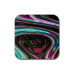 Streak Colorful Iridescent Color Rubber Square Coaster (4 Pack)