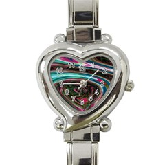 Streak Colorful Iridescent Color Heart Italian Charm Watch