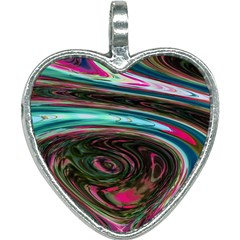 Streak Colorful Iridescent Color Heart Necklace