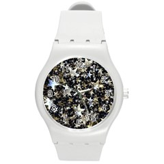 Background Star Christmas Advent Round Plastic Sport Watch (m)