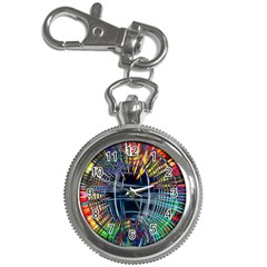 Color Background Structure Lines Key Chain Watches