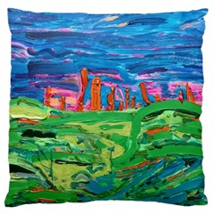 Our Town My Town Large Cushion Case (two Sides) by arwwearableart