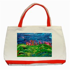 Our Town My Town Classic Tote Bag (red) by arwwearableart