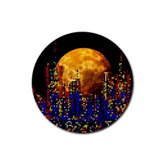 Skyline Frankfurt Abstract Moon Rubber Round Coaster (4 Pack)