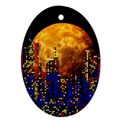 Skyline Frankfurt Abstract Moon Oval Ornament (two Sides)