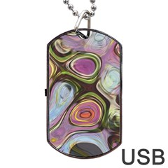Retro Background Colorful Hippie Dog Tag Usb Flash (one Side)