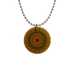 India Mystic Background Ornamental 1  Button Necklace