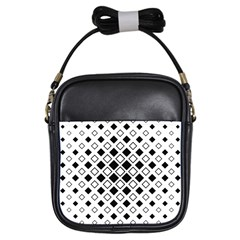 Square Diagonal Pattern Monochrome Girls Sling Bag by Bejoart