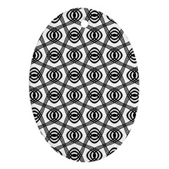 Wave Sine Pattern Wavy Halftone Oval Ornament (two Sides)