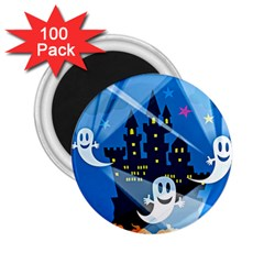 Halloween Ghosts Haunted House 2 25  Magnets (100 Pack)