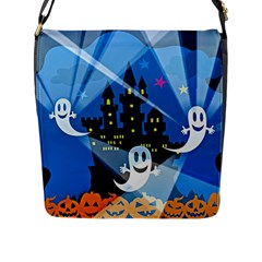 Halloween Ghosts Haunted House Flap Closure Messenger Bag (l)