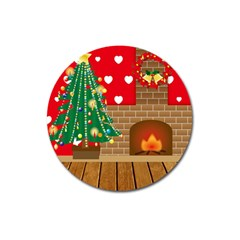 Christmas Room Living Room Magnet 3  (round) by Wegoenart