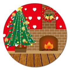 Christmas Room Living Room Magnet 5  (round)