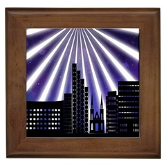 Superhero Background Lights City Framed Tiles