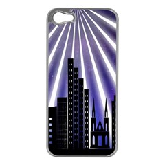 Superhero Background Lights City Apple Iphone 5 Case (silver)