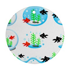 Fishbowl Fish Goldfish Water Round Ornament (two Sides)