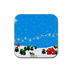Elf On A Shelf In Sled Snowflakes Rubber Coaster (square)