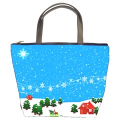 Elf On A Shelf In Sled Snowflakes Bucket Bag