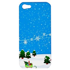 Elf On A Shelf In Sled Snowflakes Apple Iphone 5 Hardshell Case