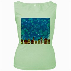 Winter Village Snow Brick Buildings Women s Green Tank Top