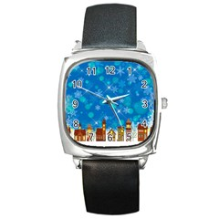 Winter Village Snow Brick Buildings Square Metal Watch