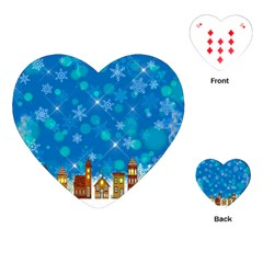 Winter Village Snow Brick Buildings Playing Cards (heart)