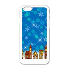 Winter Village Snow Brick Buildings Apple Iphone 6/6s White Enamel Case by Wegoenart