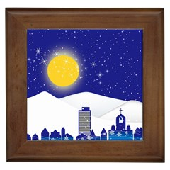 Night Christmas Background Moon Snow Framed Tiles