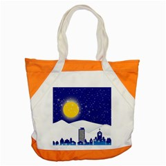Night Christmas Background Moon Snow Accent Tote Bag