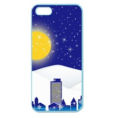 Night Christmas Background Moon Snow Apple Seamless Iphone 5 Case (color)