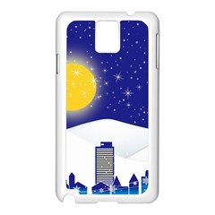 Night Christmas Background Moon Snow Samsung Galaxy Note 3 N9005 Case (white)