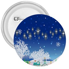 Snowflakes Snowy Landscape Reindeer 3  Buttons
