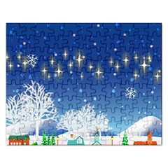 Snowflakes Snowy Landscape Reindeer Rectangular Jigsaw Puzzl