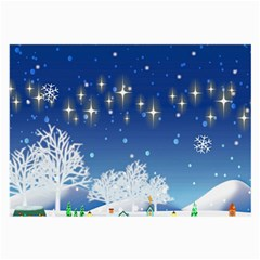 Snowflakes Snowy Landscape Reindeer Large Glasses Cloth (2 Side)