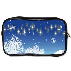 Snowflakes Snowy Landscape Reindeer Toiletries Bag (one Side) by Wegoenart