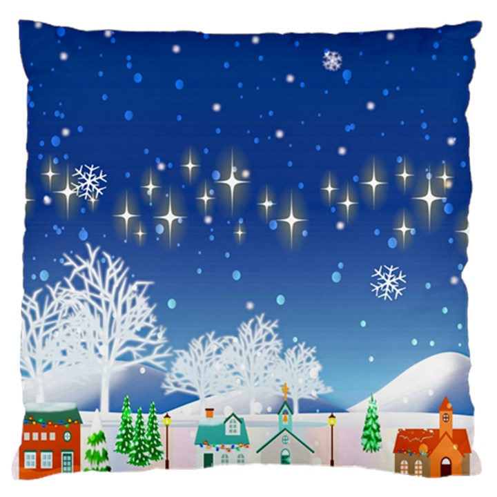 Snowflakes Snowy Landscape Reindeer Standard Flano Cushion Case (One Side)