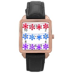 Christmas Snowflake Rose Gold Leather Watch