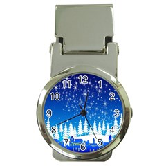 Snowflakes Snowy Landscape Reindeer Money Clip Watches