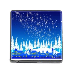 Snowflakes Snowy Landscape Reindeer Memory Card Reader (square 5 Slot)