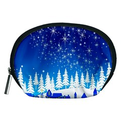 Snowflakes Snowy Landscape Reindeer Accessory Pouch (medium)