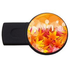 Autumn Background Maple Leaves Bokeh Usb Flash Drive Round (4 Gb)