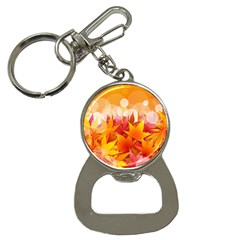 Autumn Background Maple Leaves Bokeh Bottle Opener Key Chains by Wegoenart