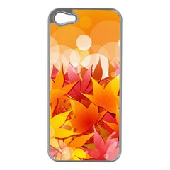 Autumn Background Maple Leaves Bokeh Apple Iphone 5 Case (silver)