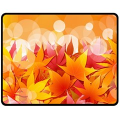 Autumn Background Maple Leaves Bokeh Double Sided Fleece Blanket (medium)  by Wegoenart