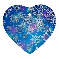 Snowflake Background Blue Purple Ornament (heart)