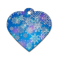 Snowflake Background Blue Purple Dog Tag Heart (two Sides)