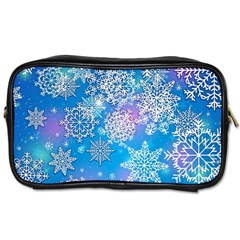 Snowflake Background Blue Purple Toiletries Bag (one Side) by Wegoenart